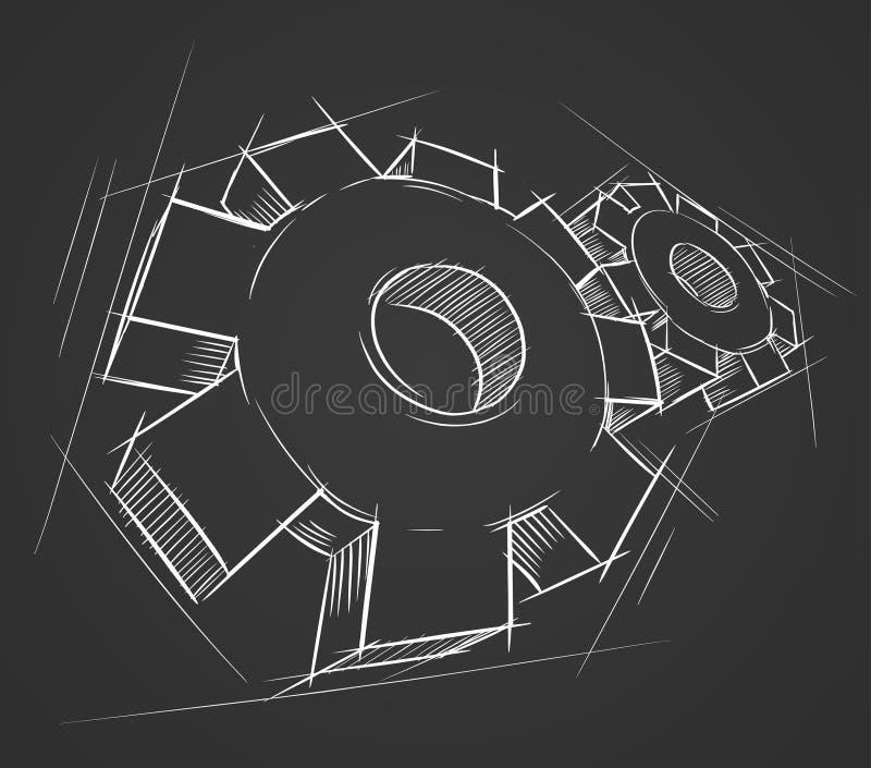 Engrenagens desenhadas mão ilustração do vetor