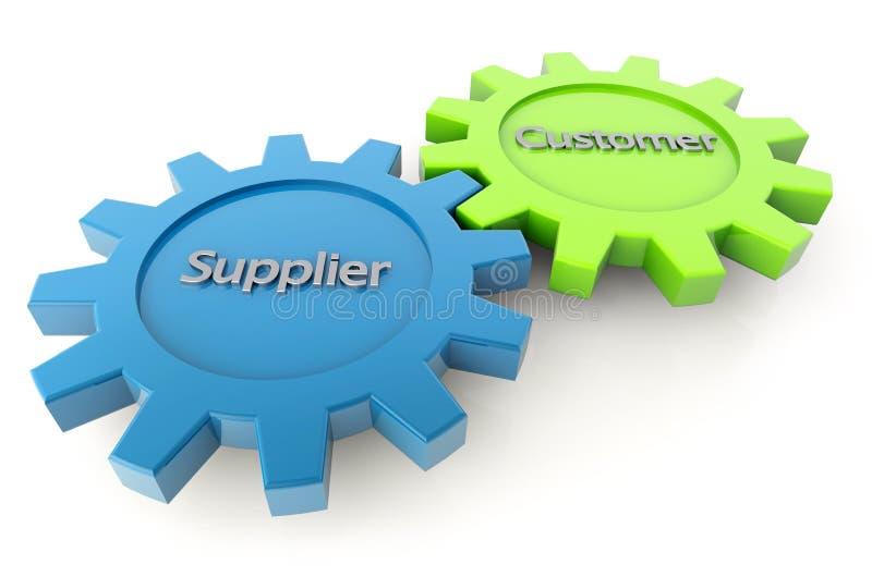 Engrenagens do fornecedor e do cliente ilustração do vetor