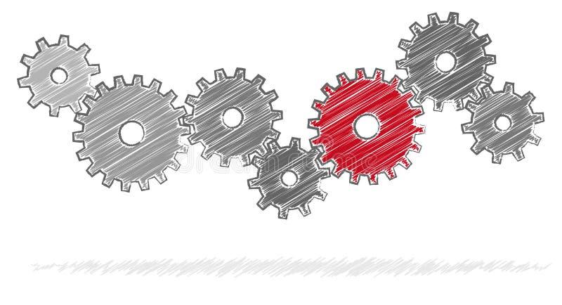 engrenagens do garrancho para o simbolismo da cooperação ilustração do vetor