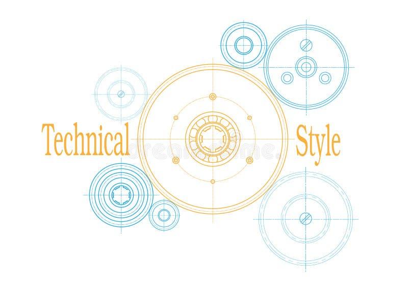 Engrenagens do mecanismo Desenho técnico, fundo ilustração royalty free