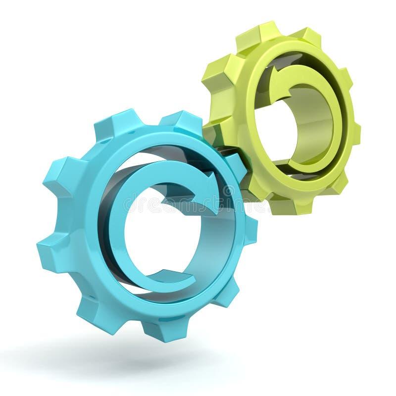 Engrenagens do verde azul do conceito do processo de negócios com setas ilustração royalty free