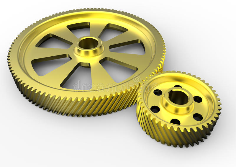 Engrenagens douradas da engenharia ilustração do vetor