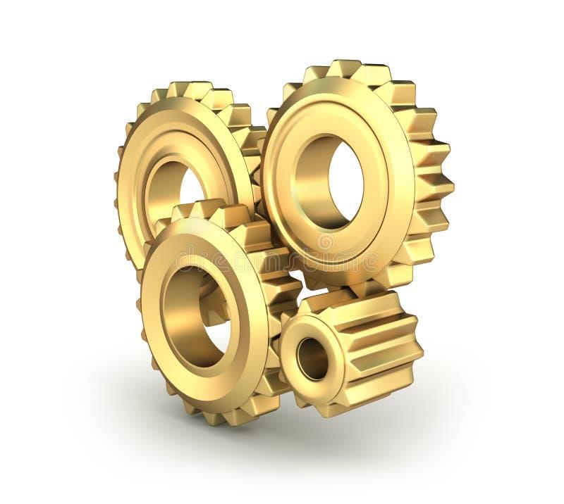 Engrenagens douradas da roda denteada ilustração stock