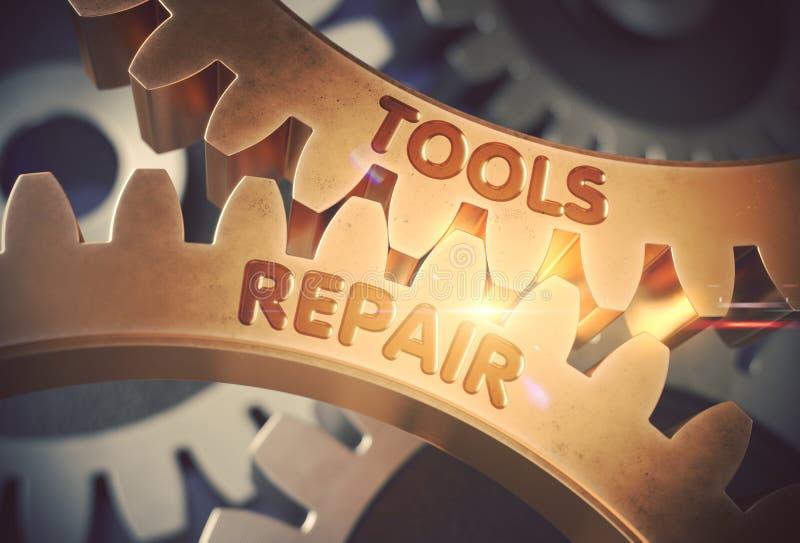 Engrenagens douradas da roda denteada com conceito do reparo das ferramentas ilustra??o 3D ilustração royalty free