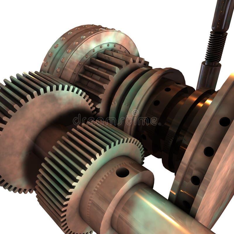 Engrenagens e cilindros 3D ilustração do vetor