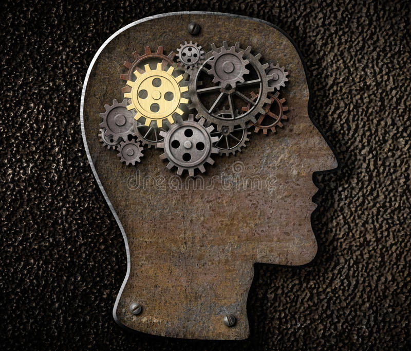 Engrenagens e rodas denteadas do cérebro feitas do metal oxidado ilustração stock