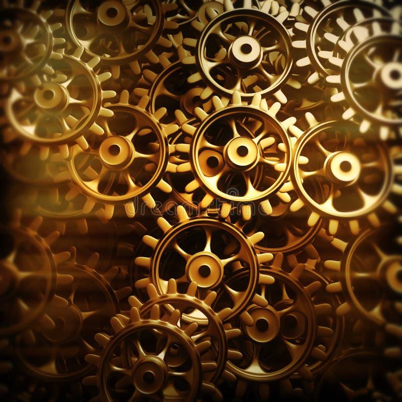 Engrenagens e rodas denteadas do ouro macro