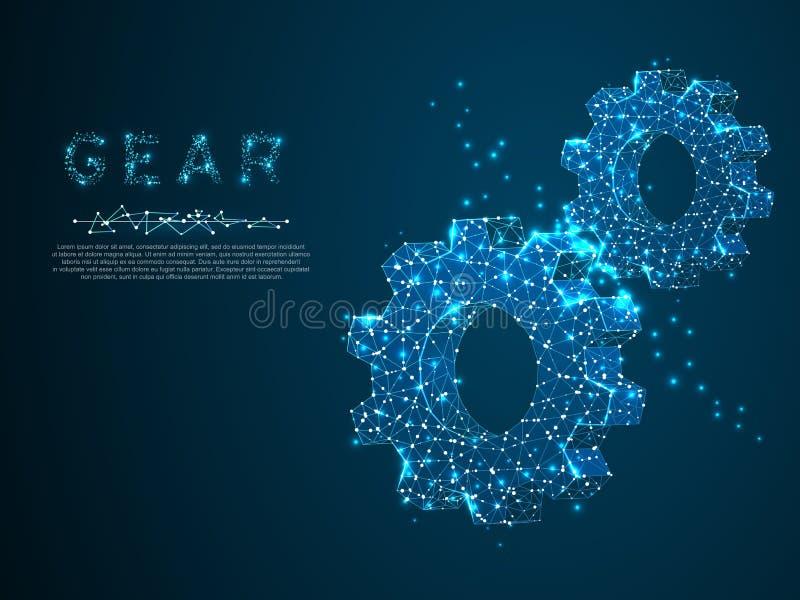 Engrenagens Ilustração da engrenagem 3d do wireframe do poligonal do vetor Desenvolvimento da indústria, trabalho do motor, conce ilustração stock