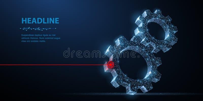 Engrenagens Ilustração moderna abstrata da engrenagem 3d do wireframe dois do vetor na obscuridade - fundo azul ilustração royalty free