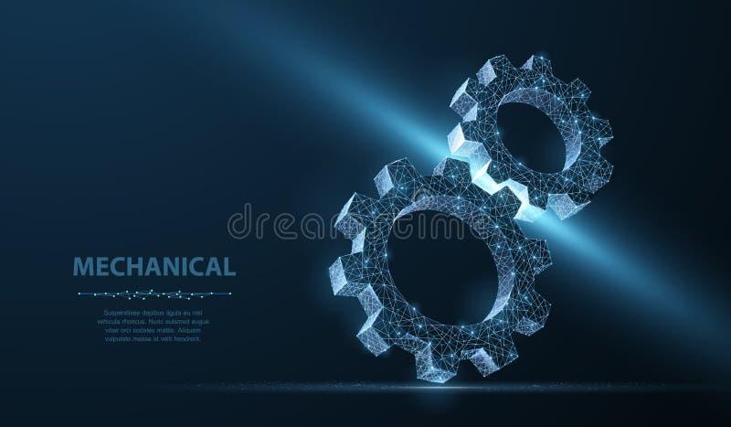 Engrenagens Ilustra??o moderna abstrata da engrenagem 3d do wireframe dois do vetor na obscuridade - fundo azul ilustração stock