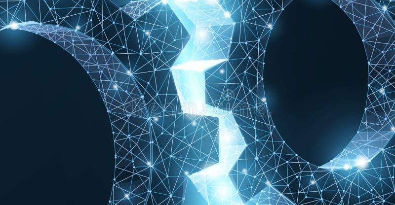 Engrenagens Ilustra??o moderna abstrata da engrenagem 3d do wireframe dois do vetor no fundo azul ilustração stock
