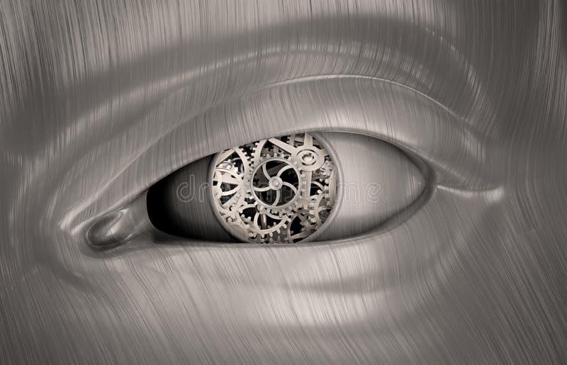 Engrenagens mecânicas dentro do olho de um robô ilustração do vetor