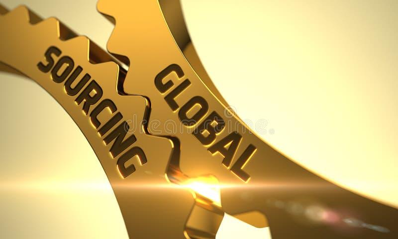 Engrenagens metálicas douradas com conceito global da fonte 3d ilustração royalty free