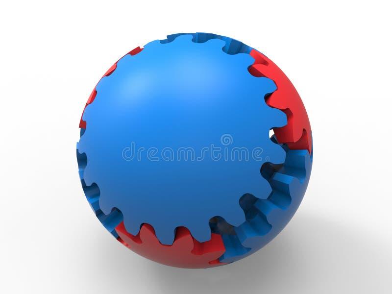 Engrenagens - modelo dado forma esfera ilustração do vetor