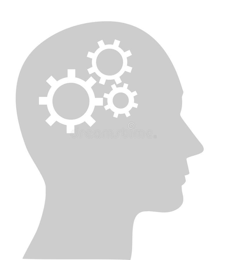 engrenagens na cabeça humana ilustração royalty free