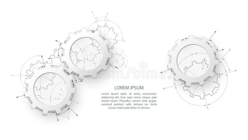 Engrenagens no acoplamento Fundo industrial do sumário do desenho de engenharia com rodas denteadas ilustração do vetor