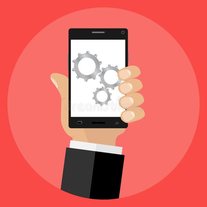 Engrenagens no fundo de tela do telefone celular Ícone do ajuste do telefone ilustração royalty free