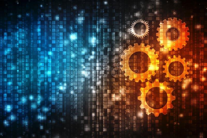 Engrenagens no fundo digital, fundo abstrato da tecnologia de Digitas, mecânico e projetando o fundo ilustração stock
