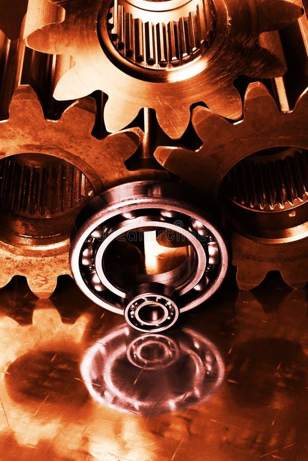 Engrenagens, peças da máquina na ação imagem de stock