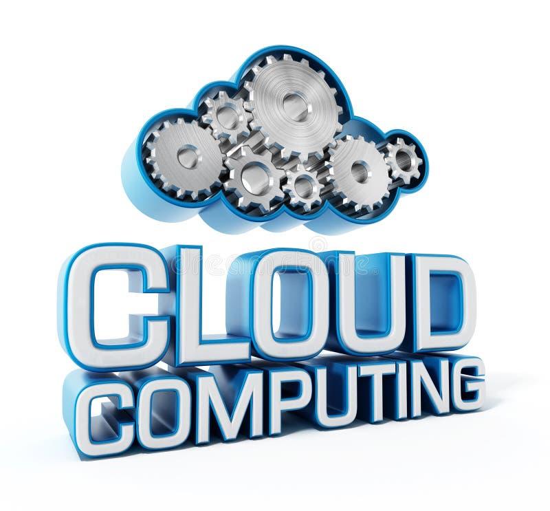 Engrenagens que formam uma forma da nuvem e um texto de computação da nuvem ilustração royalty free