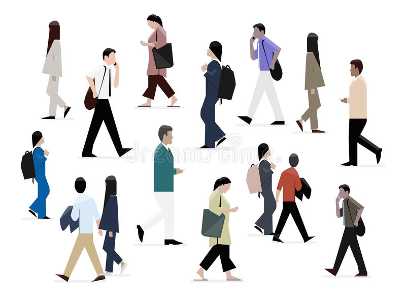 Engrossed businessmen, businesswomen and students walking, dressed in formal clothes. Businessmen, businesswomen and students walking, dressed in formal clothes stock illustration