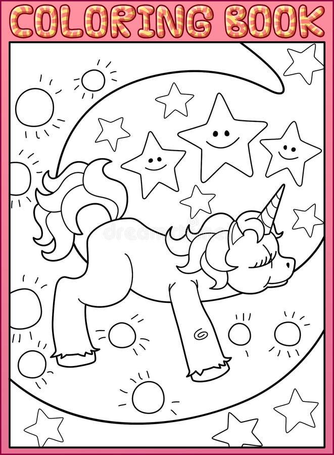Enhörning för sida för färgläggningbok gullig liten på månen stock illustrationer
