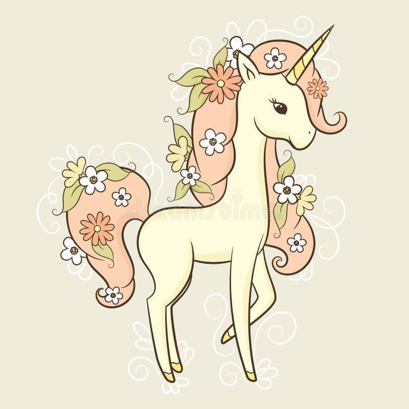 Enhörning i blommor royaltyfri illustrationer