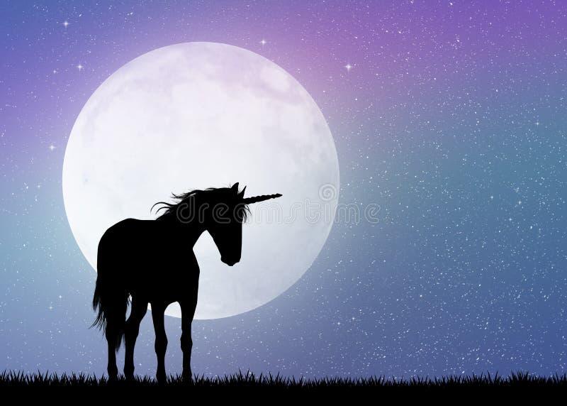 Enhörning i månskenet stock illustrationer