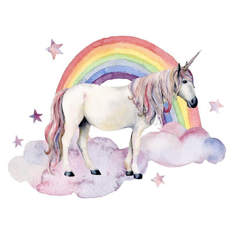 Enhörning, moln och regnbåge för witn för vattenfärgsagakort Räcka den målade enhörningen, den färgrika regnbågen och stjärnor so royaltyfri illustrationer