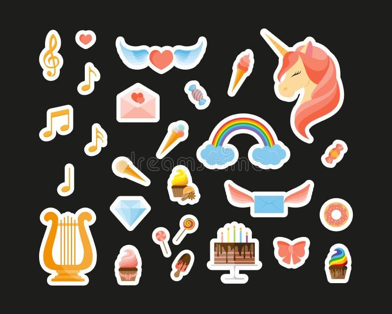 Enhörning, regnbåge, harpa, musikaliska anmärkningar, sötsaker och andra modelappemblem royaltyfri illustrationer