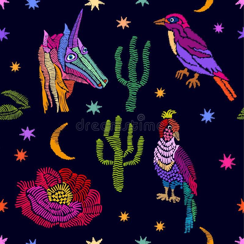 Enhörning, stjärnor, växter och fåglar vektor illustrationer