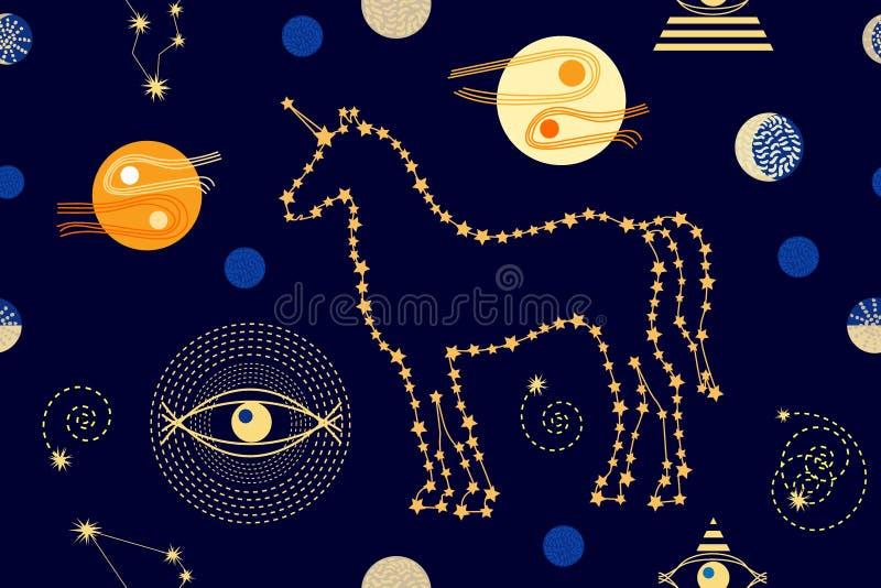 Enhörningar i himlen royaltyfri illustrationer