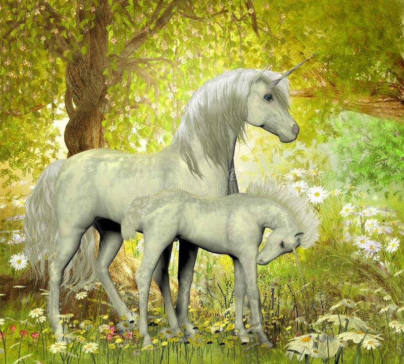 Enhörningar och vita tusenskönor royaltyfri illustrationer