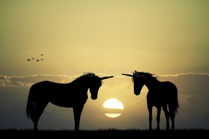 Enhörningar på solnedgången vektor illustrationer