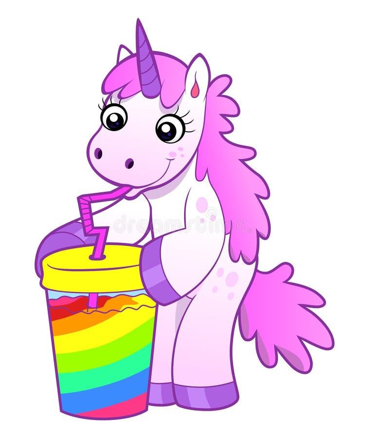 Enhörningen dricker regnbågecoctailen stock illustrationer