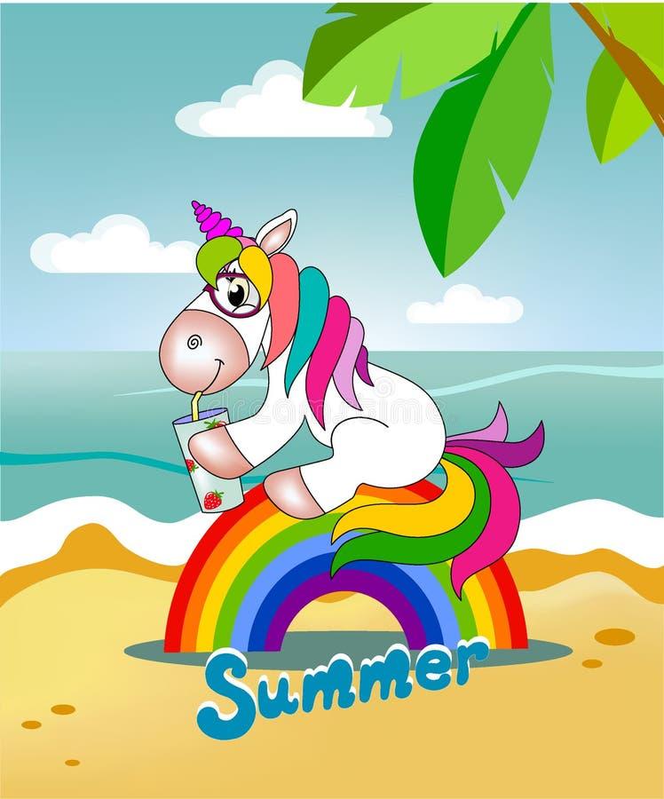 Enhörningen sitter på regnbågen och dricker fruktsaft royaltyfri illustrationer