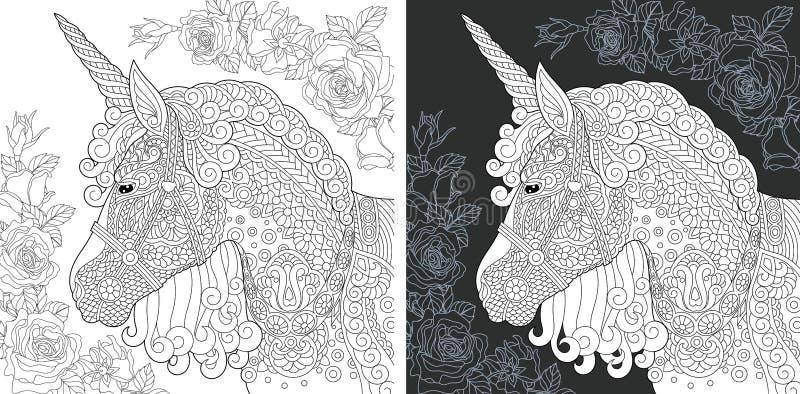 Enhörningfärgläggningsida royaltyfri illustrationer