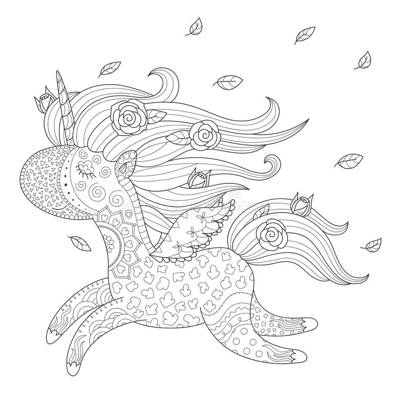 Enhörningfärgläggningsida stock illustrationer