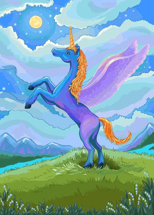 Enhörningillustration Blå enhörning i natten av landscapen royaltyfri illustrationer