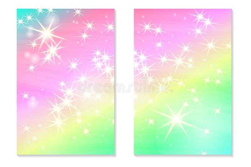 Enhörningregnbågebakgrund Holographic himmel i pastellfärgad färg Ljus hologramsjöjungfrumodell i prinsessafärger vektor illustrationer