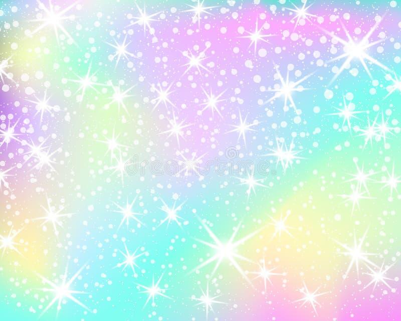 Enhörningregnbågebakgrund Holographic himmel i pastellfärgad färg Ljus sjöjungfrumodell i prinsessafärger också vektor för coreld royaltyfri illustrationer