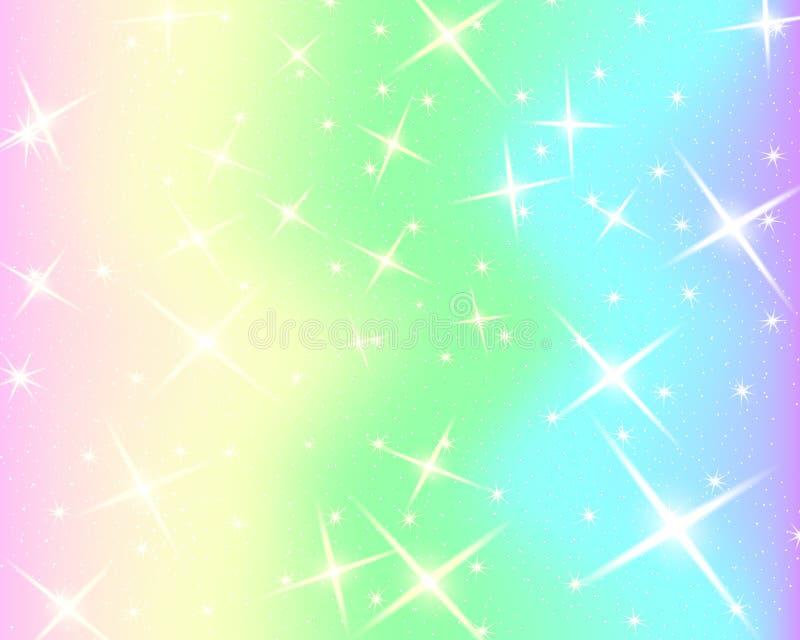 Enhörningregnbågebakgrund Holographic himmel i pastellfärgad färg Ljus sjöjungfrumodell i prinsessafärger också vektor för coreld vektor illustrationer