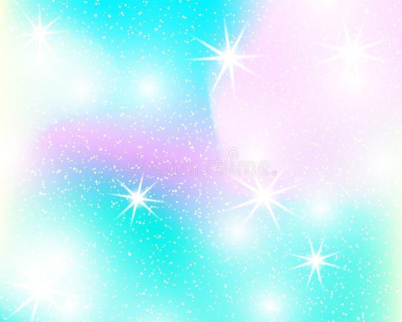 Enhörningregnbågebakgrund Holographic himmel i pastellfärgad färg Ljus sjöjungfrumodell i prinsessafärger också vektor för coreld stock illustrationer