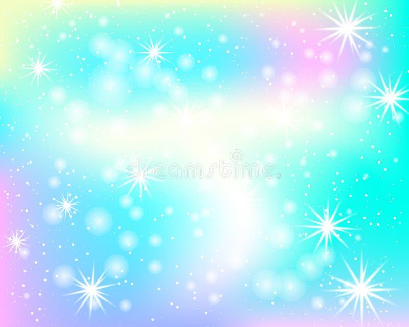 Enhörningregnbågebakgrund Sjöjungfrumodell i prinsessafärger Färgrik bakgrund för fantasi med regnbågeingreppet stock illustrationer