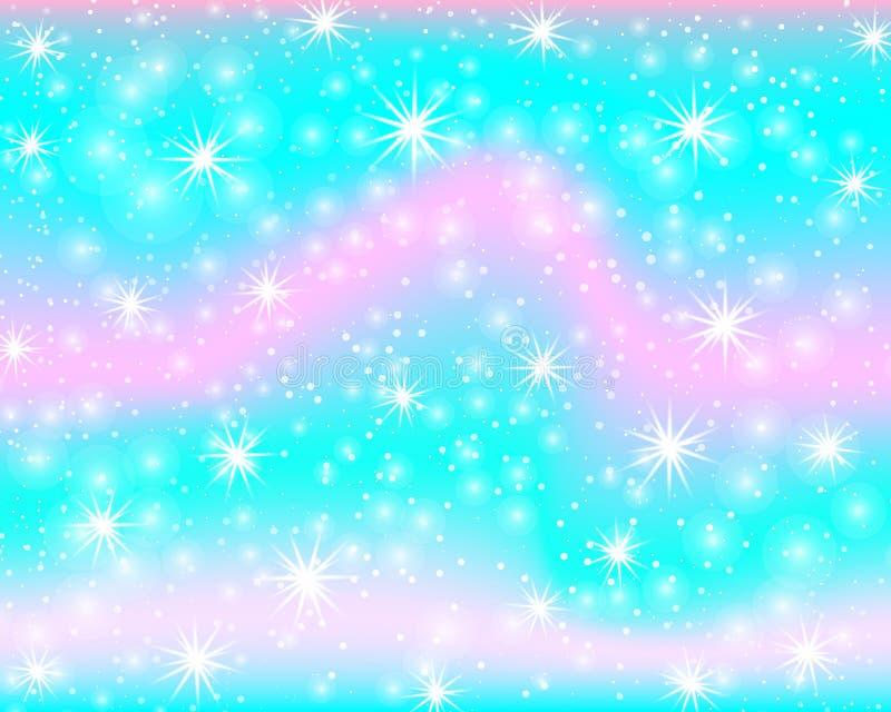 Enhörningregnbågebakgrund Sjöjungfrumodell i prinsessafärger Färgrik bakgrund för fantasi med regnbågeingreppet royaltyfri illustrationer