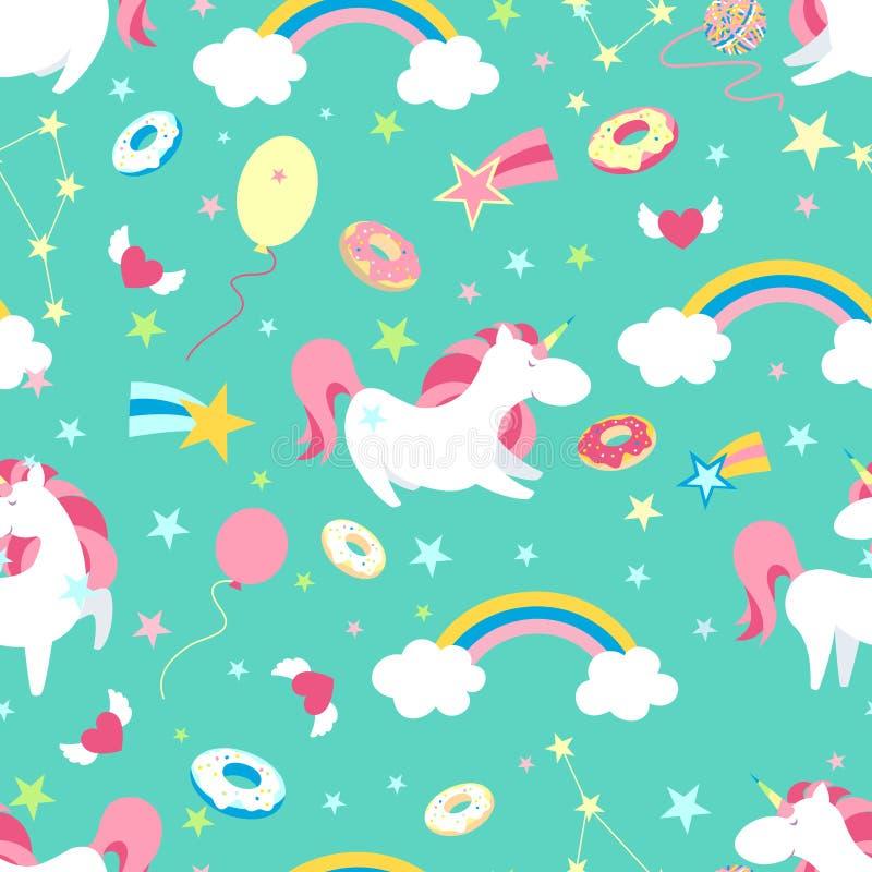Enhörningtecken - uppsättning Gullig magisk samling med enhörningen, regnbågen, hjärta, fevingar och ballongen Catroon stilvektor royaltyfri illustrationer