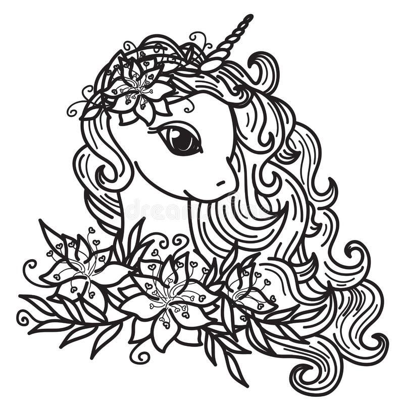 Enhörningtecknad film och blommor för vektor gullig royaltyfri illustrationer