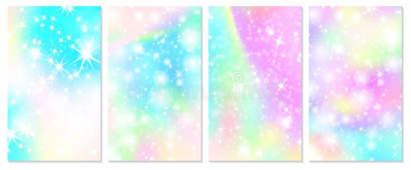 Enh?rningregnb?gebakgrund Holographic himmel royaltyfri illustrationer