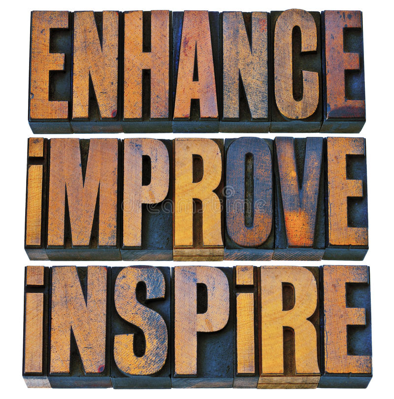 Enhance, improve, inspire in letterpress wood type. Enhance, improve, inspire word abstract - a collage of isolated motivational words in vintage letterpress royalty free stock photography