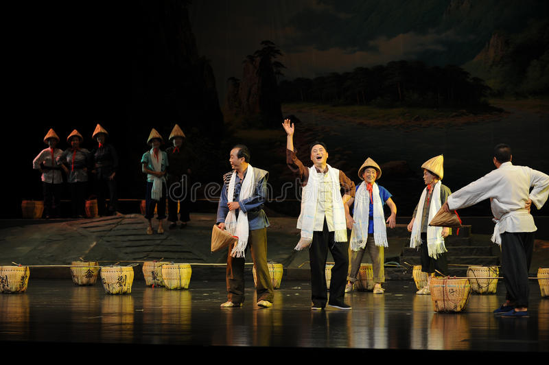 Enhance troop morale- Jiangxi opera a steelyard. Jiangxi opera a steelyard is adapted from a true story: the last century fortys, the protagonists father runs an stock photography